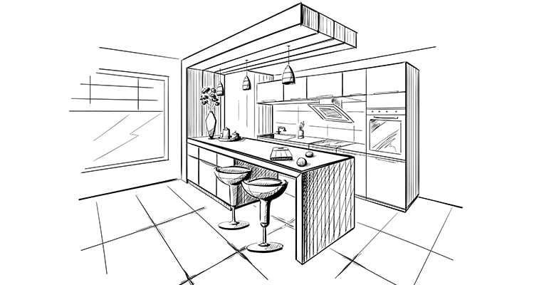 concept drawing of a kitchen