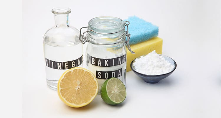 Vinegar, baking soda, lemon, lime and sponges